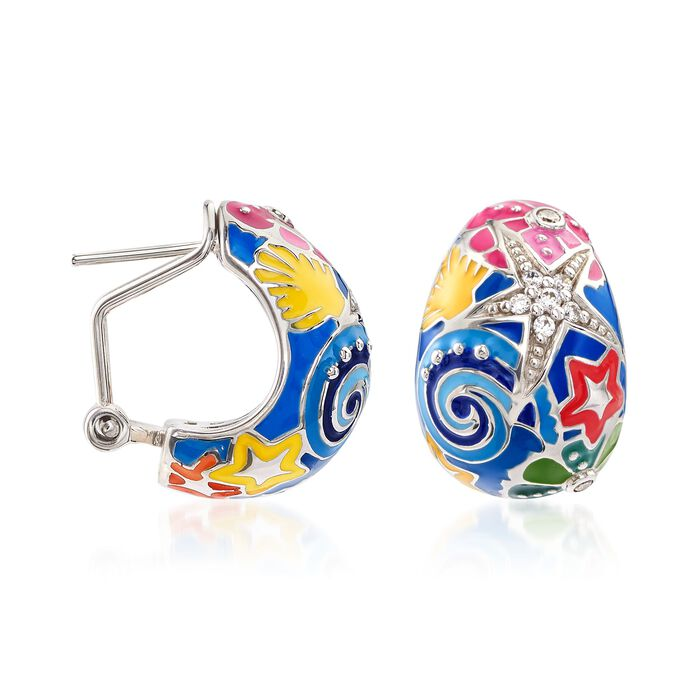"Belle Etoile ""Starfish"" Blue and Multicolored Enamel Half-Hoop Earrings with CZs in Sterling Silver"