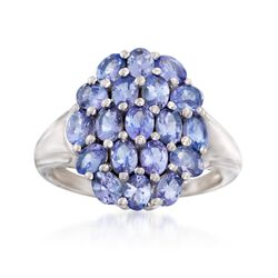 3.20 ct. t.w. Tanzanite Cluster Ring in Sterling Silver, , default