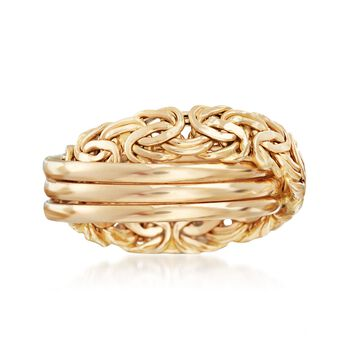 14kt Yellow Gold Byzantine X Ring, , default