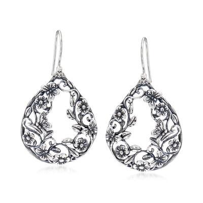 Sterling Silver Flower and Butterfly Drop Earrings