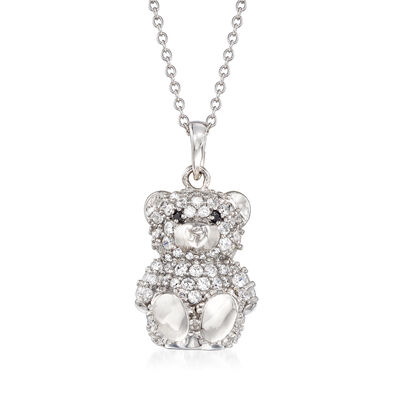 1.76 ct. t.w. Black and White CZ Teddy Bear Pendant Necklace in Sterling Silver, , default