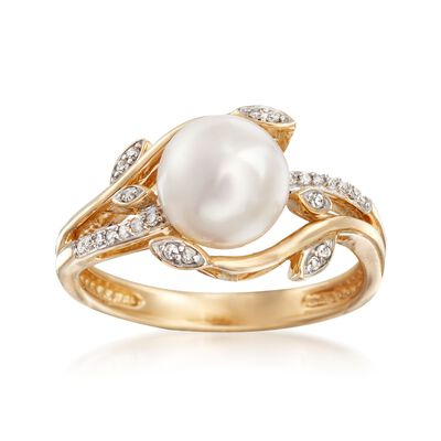 8mm Cultured Pearl and Diamond-Accented Leaf Ring in 14kt Gold, , default