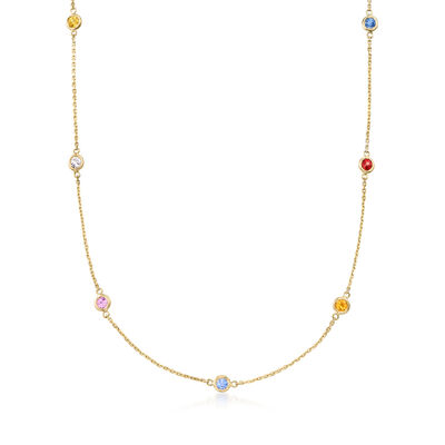 .70 ct. t.w. Bezel-Set Multicolored Sapphire Station Necklace in 14kt Yellow Gold, , default