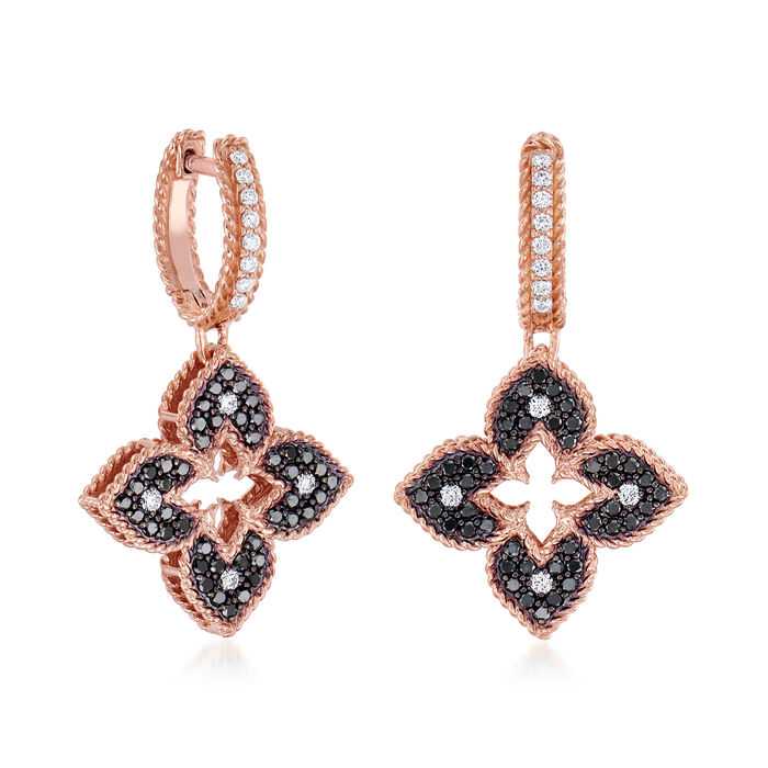 """Roberto Coin """"Venetian Princess"""" .83 ct. t.w. Black and White Diamond Flower Drop Earrings in 18kt Rose Gold"""