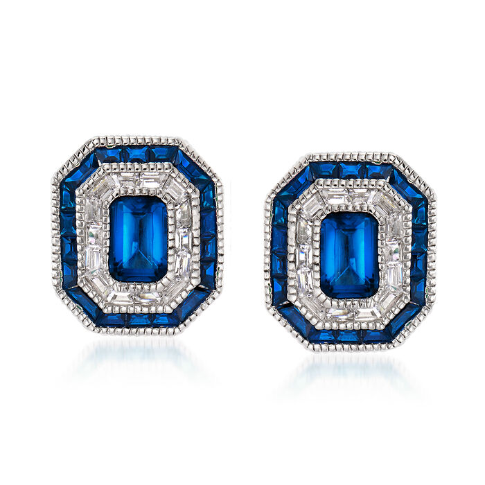 Simulated Sapphire and .50 ct. t.w. CZ Stud Earrings in Sterling Silver