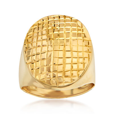 Italian 14kt Yellow Gold Checkered Oval Ring