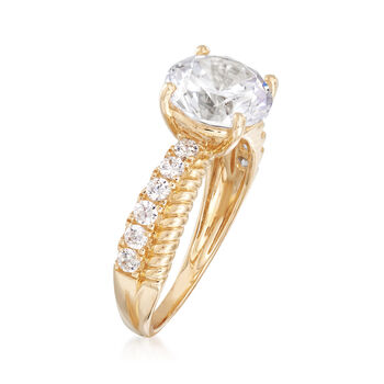 3.00 ct. t.w. CZ Criss Cross Ring in 14kt Yellow Gold, , default