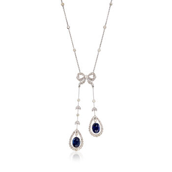 "C. 2000 Vintage 2.60 ct. t.w. Sapphire and 1.40 ct. t.w. Diamond Bow Pendant Necklace in 18kt White Gold. 16"", , default"