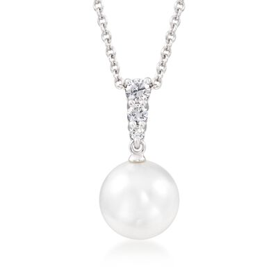 Mikimoto 10mm A+ South Sea Pearl and .25 ct. t.w. Diamond Pendant Necklace in 18kt White Gold, , default