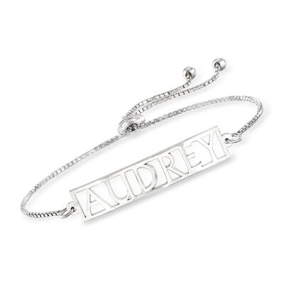 Sterling Silver Personalized Bolo Bracelet, , default