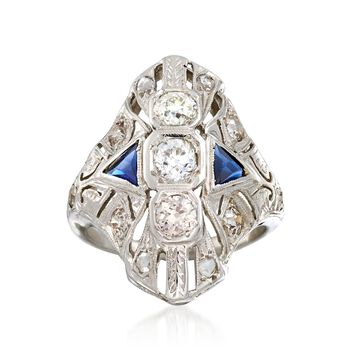 C. 1930 Vintage .60 ct. t.w. Diamond and .25 ct. t.w. Synthetic Sapphire Dinner Ring in 18kt White Gold. Size 4.5, , default