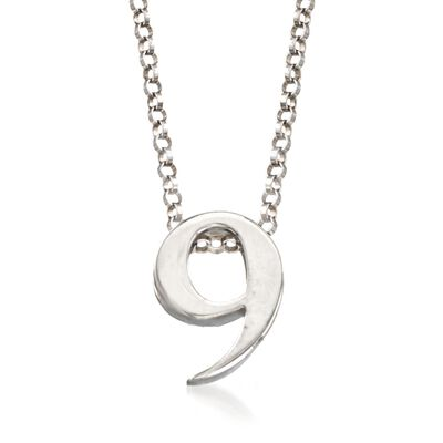 Sterling Silver Number 9 Pendant Necklace, , default