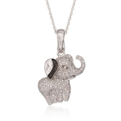 .18 ct. t.w. Diamond Elephant Pendant Necklace in Sterling Silver, , default