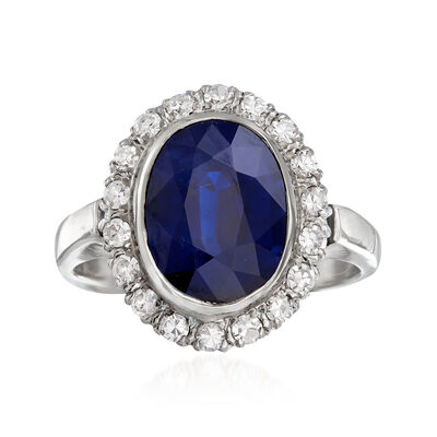 C. 1970 Vintage 5.55 Carat Ceylon Sapphire and .45 ct. t.w. Diamond Ring in 14kt White Gold, , default