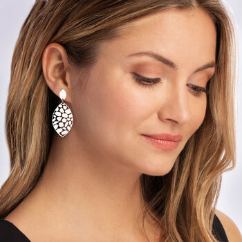 Italian Sterling Silver Marquise-Shaped Drop Earrings