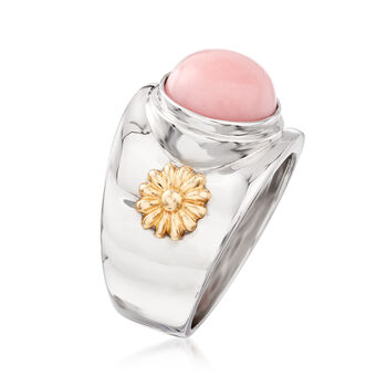 Pink Opal Wide-Band Ring in Sterling Silver and 14kt Yellow Gold, , default