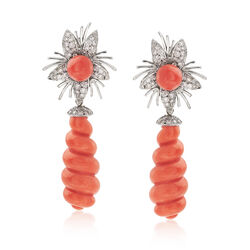 C. 1960 Vintage Peach Coral and 1.30 ct. t.w. Diamond Floral Burst Clip-On Drop Earrings in 18kt White Gold, , default