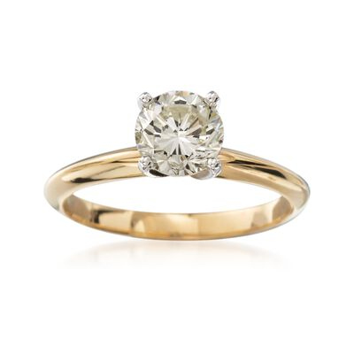 C. 2000 Vintage 1.17 Carat Diamond Solitaire Engagement Ring in 14kt Yellow Gold, , default