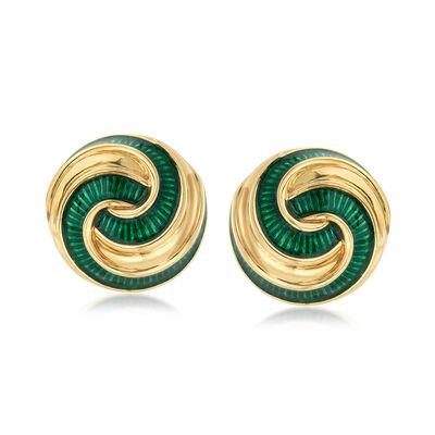 C. 1970 Vintage Green Enamel 18kt Yellow Gold Swirl Clip-On Earrings, , default