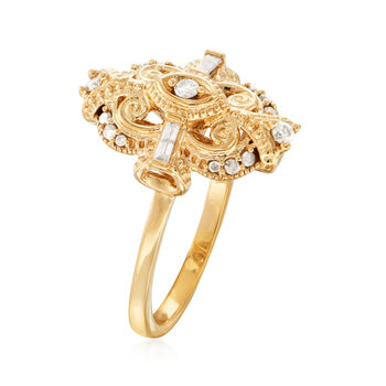 .25 ct. t.w. Diamond Scrollwork Ring in 18kt Gold Over Sterling