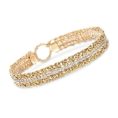 3.00 ct. t.w. CZ Byzantine Bracelet in 18kt Gold Over Sterling