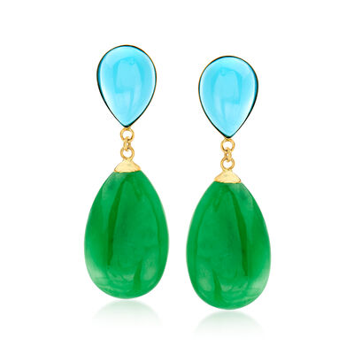Turquoise and Green Jade Teardrop Earrings in 14kt Yellow Gold