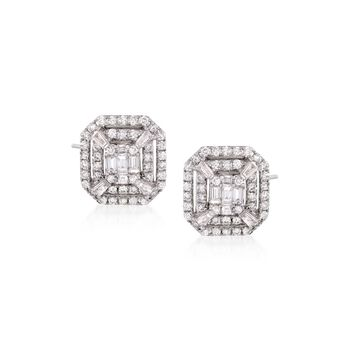 1.38 ct. t.w. Diamond Cluster Stud Earrings in 14kt White Gold, , default
