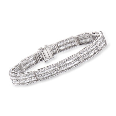 6.00 ct. t.w. Baguette and Round Diamond Bracelet in 14kt White Gold