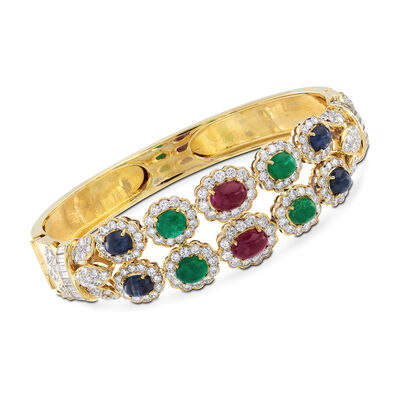 C. 1980 Vintage 7.00 ct. t.w. Multi-Stone Bangle Bracelet in 14kt Yellow Gold with 5.10 ct. t.w. Diamonds