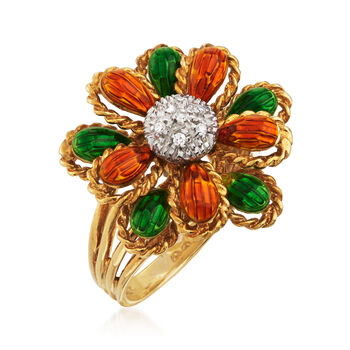 C. 1990 Vintage Orange and Green Enamel Flower Ring with Diamond Accents in 18kt Yellow Gold. Size 5
