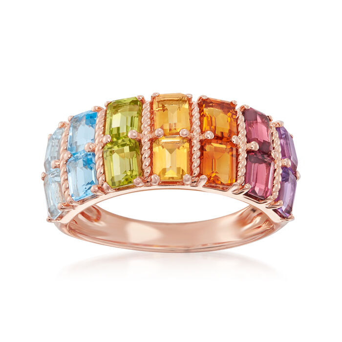 2.70 ct. t.w. Multi-Gemstone Ring in 18kt Rose Gold Over Sterling