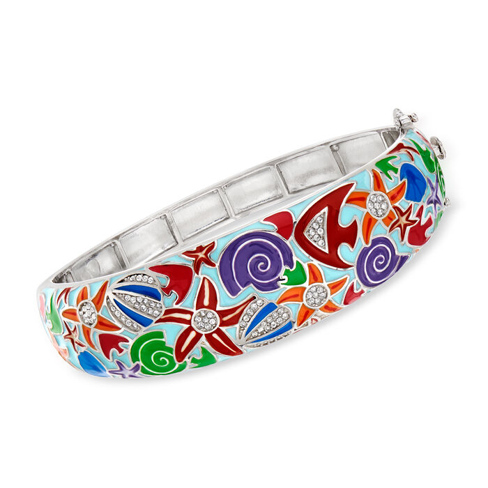 .40 ct. t.w. White Topaz and Multicolored Enamel Sea Life Bangle Bracelet in Sterling Silver