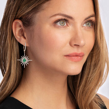 2.00 ct. t.w. Emerald and 1.05 ct. t.w. Diamond Starburst Drop Earrings in 14kt Yellow Gold