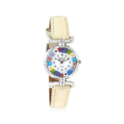 Italian Woman's Floral Multicolored Murano Glass 26mm Watch with Ivory Leather