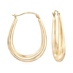 14kt Yellow Gold U-Shaped Puffed Hoop Earrings, , default