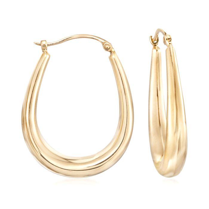 "14kt Yellow Gold U-Shaped Puffed Hoop Earrings. 7/8"", , default"
