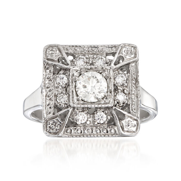 C. 2000 Vintage .47 ct. t.w. Diamond Cocktail Ring in 14kt White Gold. Size 5.75