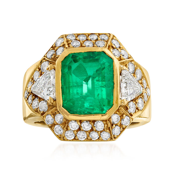 C. 1990 Vintage 3.35 ct. t.w. Emerald and 2.00 ct. t.w. Diamond Ring in 18kt Yellow Gold. Size 6.5, , default