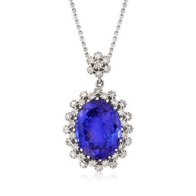 7.75 Carat Tanzanite and .40 ct. t.w. Diamond Pendant Necklace in 14kt White Gold, , default