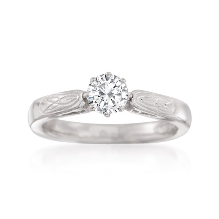 C. 1970 Vintage .50 Carat Diamond Solitaire Engagement Ring in 14kt White Gold