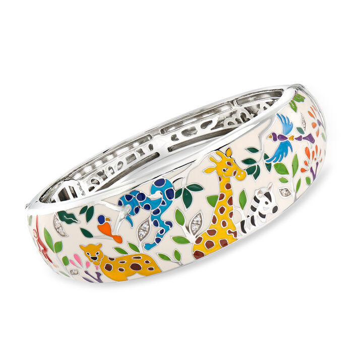 "Belle Etoile ""Serengeti"" Ivory and Multicolored Enamel Bangle Bracelet with CZ Accents in Sterling Silver. 7.5"""