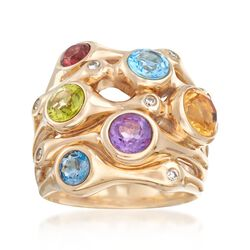 3.20 ct. t.w. Multi-Stone Cluster Ring in 14kt Yellow Gold, , default
