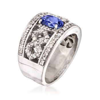 """C. 2000 Vintage 1.55 Carat Tanzanite and 1.10 ct. t.w. Diamond """"X"""" Ring in 14kt White Gold. Size 7, , default"""