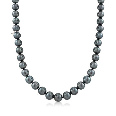 Mikimoto 8.1-11mm A+ Black South Sea Pearl Necklace with 18kt White Gold and Diamond Accent, , default