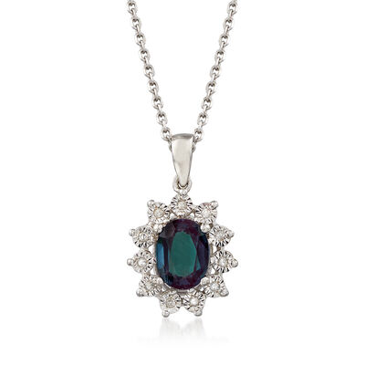 1.60 Carat Synthetic Alexandrite Pendant Necklace with Diamond Accents in Sterling Silver