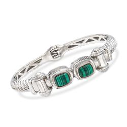 "Malachite Twisted Bracelet in Sterling Silver. 8"", , default"