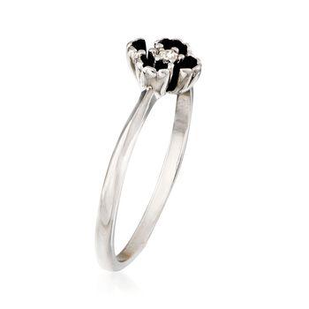 C. 1970 Vintage Rhinestone Flower Ring in 14kt White Gold. Size 9.5, , default