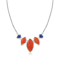 Free-Form Carnelian and Lapis Necklace in Sterling Silver, , default