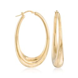 "Italian 18kt Gold Over Sterling Silver Large Oval Hoop Earrings. 2 1/8"", , default"