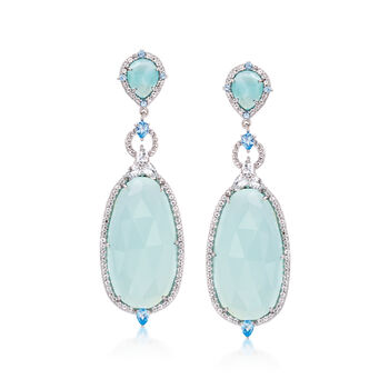 Aqua Chalcedony and 2.60 ct. t.w. Blue and White Topaz Drop Earrings in Sterling Silver, , default